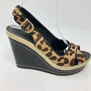 Vince Camuto Leopard Wedges shoe Estera 7.5 sandal